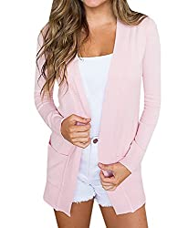 Youxiua Womens Cardigans Casual Open Front Long Boyfriend Sweaters Lightweight Knit Cardigan With Pockets