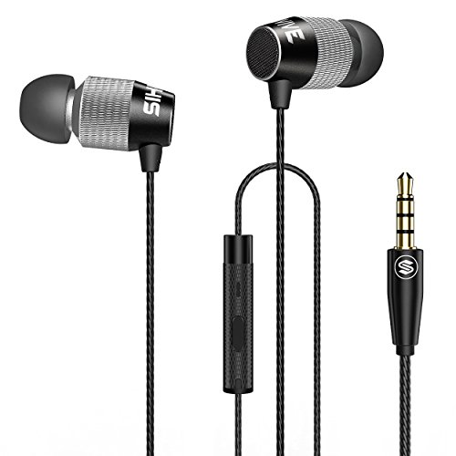 SIHIVIVE Headphones With Mic Metal Wired Earphones Remote Bass Stereo Noise isolating Earbuds Dual Diaphragm Transducer For All Cell phones Android iOS With 3.5MM Jack(Black and (Aluminum Isolation Earphones)