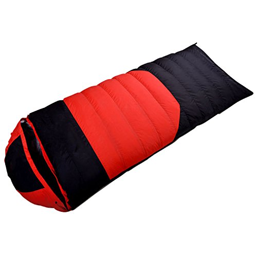 Famous Juggle Outdoor Camping Ultralight Waterproof Duck Down Sleeping Bag (Red and Black)