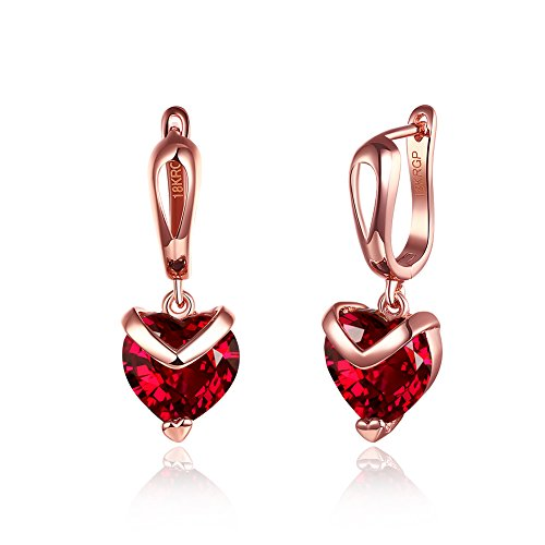 Yellow Chimes Red Heart Austrian Crystal 18K Rose Gold Plated Stud Earrings Women