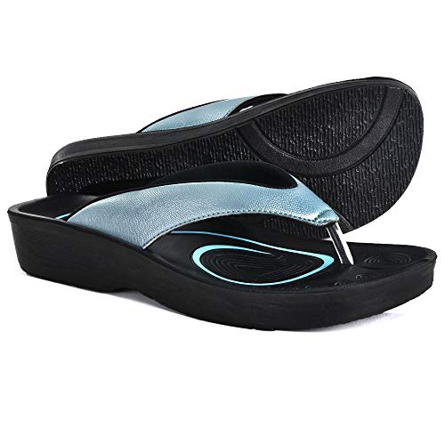 AEROTHOTIC Original Orthotic Comfort Thong Sandal and Flip Flops with Arch Support for Comfortable Walk (US Women 8, Pearly Blue) (Best Sandals For Pregnancy)