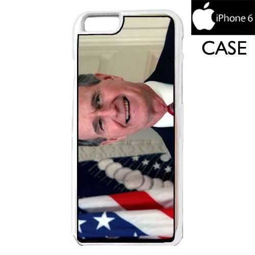 Bush Frame (George Bush iPhone 6 WHITE FRAME hard plastic cell phone Case / Cover Great Gift Idea)