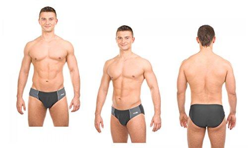 AQUA-SPEED® ADAM Maillot de bain pour homme Lettre Pantalon Slip de Natation, modèle: ADAM/13Noir/Gris-Tailles: L