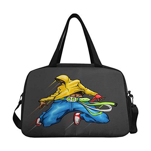 Cool Guy in Dancing Hip Hop Travel Duffel Bag Luggage Totes for Weekend Trip