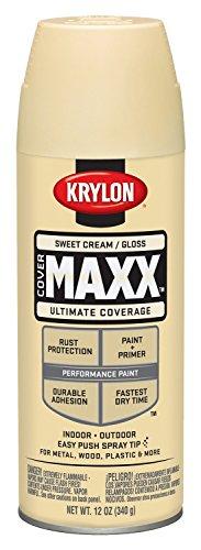 - Krylon K09143007 COVERMAXX Spray Paint, Gloss Sweet Cream, 12 Ounce