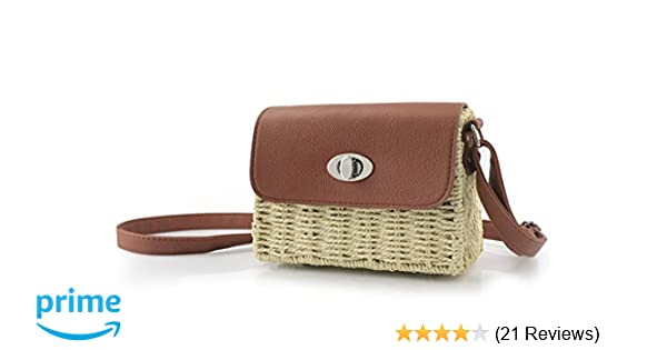 dee181d0fa Vintage Straw Basket Case Cross Body Bag Womens Small Vacation Purse  (Beige)  Handbags  Amazon.com