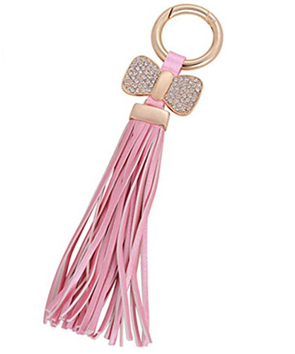 LALANG Tassels Hanging with Bow Key Chain Charms Alloy Key Ring Keychains Pendants for Key Decoration -