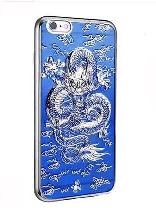 Dragon Phone (iPhone 8/iPhone 7 Case(4.7inch),Blingy's Cool 3-D Dragon Style Flexible TPU Case for iPhone 8/iPhone 7 (Blue and Silver))