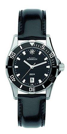 Michel Herbelin 14290-AN14 Ladies Newport Trophy Black Leather Strap Watch