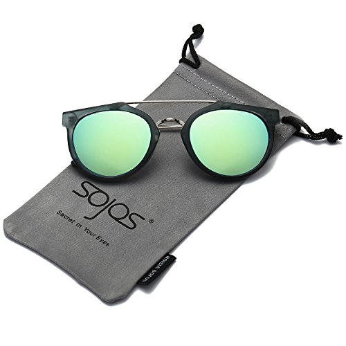 SojoS Modern Double Metal Bridge Crossbar Round Unisex Sunglasses SJ2032 With Matte Dark Green Frame/Yellow&Green Mirrored - Double Bridge