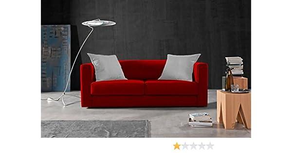 Due-home Sofá 3 plazas SAK,Acabado Tela Antimanchas Color (Rojo y Cojines Blancos)