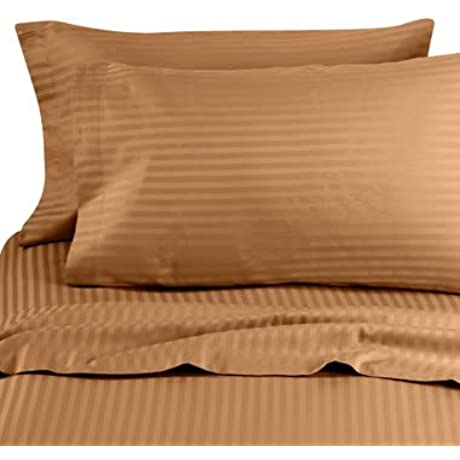 600 Thread Count California King Siberian Goose Down Alternative Comforter 600FP 50oz With 100 Egyptian Cotton Stripe Damask Cover Brown Bronze Set Includes Bed Duvet Cover Sheet With TWO Shams Pillowcases Made Of 600 Thread Count 100 Long Staple Egyptian Giza Cotton With Swiss Sateen Finishing