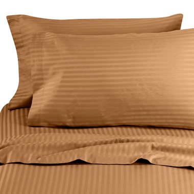7 pc Brown (Bronze) Damask Stripe Queen Size Bed Sheet-Duvet Cover Sheet with TWO Shams and TWO pillow cases set. 1000 Thread Count 100% Long Staple Natural Combed Giza ()