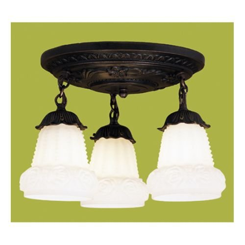 White Puffy Rose 3-Light Shower Semi-Flush mount (Lights Tiffany Meyda Ceiling)