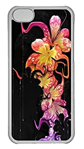 Melting and Dripping Flowers Polycarbonate Hard Case Cover for iPhone 5C ¨CTransparent