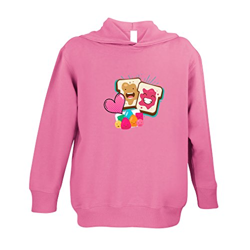 Price comparison product image Cute Rascals Peanut Butter and Jelly Toasts in Love 60/40 Cotton/Polyester Long Sleeve Hooded Neck Unisex Toddler Fleece Pullover Hoodie - Hot Pink, 5/6T