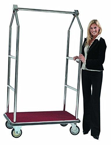 Aarco LC-2C Bellman's Luggage Cart. Color: Brass Size: 42in L x 24in.W x 72in.H.