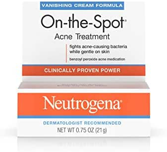 Neutrogena On-The-Spot Acne Spot Treatment with 2.5% Benzoyl Peroxide Acne Treatment Medicine to Treat Face Acne, Gentle Benzoyl Peroxide Pimple Gel for Acne Prone Skin,.75 oz (Pack of 6)