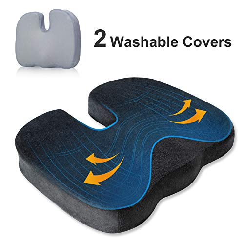 BedStory Memory Foam Seat Cushion for Coccyx Tailbone Back Pain Relief, Enhanced Office Chair Cushion Pad Also for Car Wheelchair Airplane, OrthopedicU-Shape Design with 2 Washable Covers