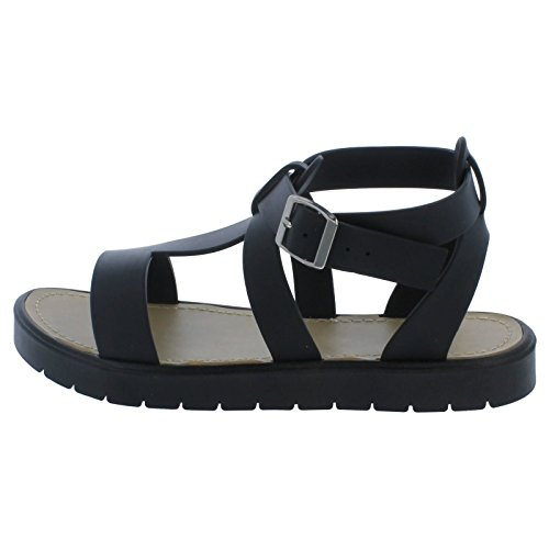 Ladies Gladiator Style Sandals Black 1XHmfc2M