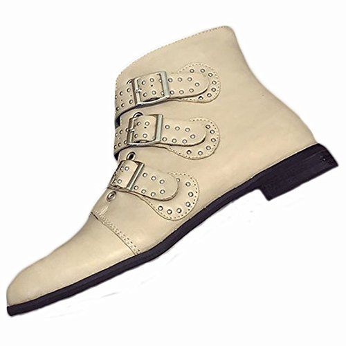 ZHZNVX HSXZ Zapatos de Mujer Moda Otoño Invierno PU Confort Botas Botas Chunky Talón Puntera Redonda Mid-Calf Botas para Casual Negro, Beige Beige,US7.5/UE38/UK5.5/CN38 38 EU