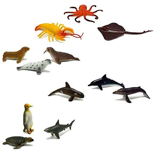 - Adam Victor Under The Sea Plastic Sea Life Creatures, Shark Whale Rays Penguin Octopus Turtle Seal Lobster Sea Lion Walrus - 12 Pcs Mini Toys