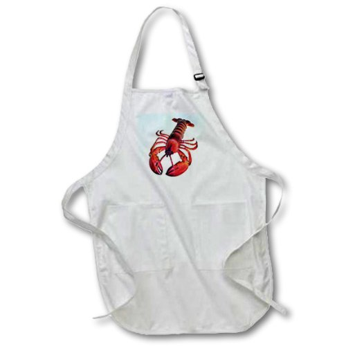 22 by 30-Inch Black 3dRose apr/_4480/_4 Lobster Full Length Apron with Pockets