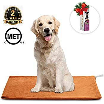 MARUNDA Pet Heating Pad ,Dog Cat Pet Heating Blanket Indoor Waterproof,Auto Constant Temperature Warming 15x24 inches Bed with Chew Resistant Steel Cord