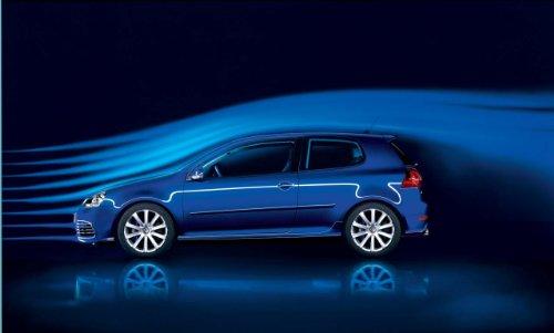 Golfs Blue Volkswagen Golf (Volkswagen Golf R32 (2006) Car Art Poster Print on 10 mil Archival Satin Paper Blue Side Studio View)