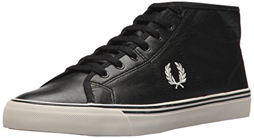 Fred Perry haydon Mid Leather Sneaker, Black, 8 D UK (9 US) by Fred Perry