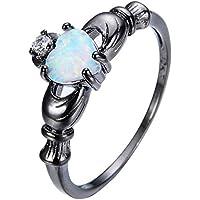 PR Jewelry Women Men 925Silver Black Gold Filled Claw Claddagh Heart Fire Opal Ring Wedding (9)