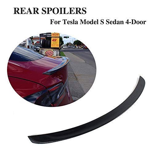 Replacement Rear Spoiler - JC SPORTLINE fits Tesla Model S 60D 75D P85 P90D P100D 2012-2019 Carbon Fiber Rear Trunk Spoiler CF Deck Lip Wing(Gloss Black)
