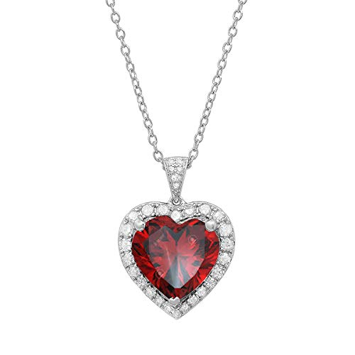 Sterling Silver 12 MM Heart Garnet & Round White Diamond Ladies Pendant (Silver Chain Included) (12 Mm Heart Pendant)