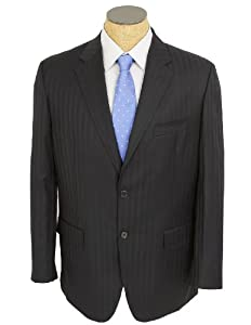 B00IDH9Z4O Silvio Bresciani Mens Black Stripe Super 120 Italian Wool Suit- Size 36R
