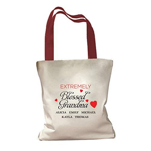 Personalized Custom Text Extremely Blessed Grandma Cotton Canvas Colored Handles Tote Bag - Red