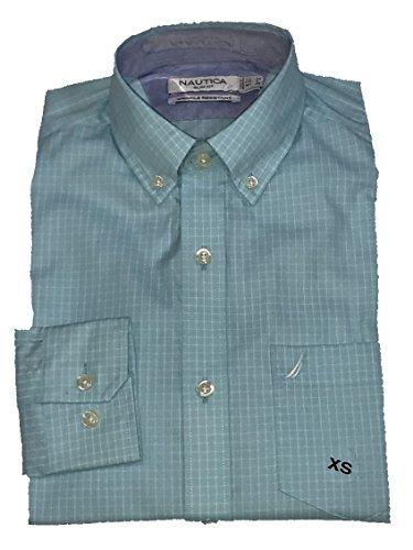 Windowpane Plaid Shirt (Nautica Men's Long Sleeve Slim Fit Wrinkle Resistant Plaid Windowpane Button Down Shirt (Ocean Blue White, 3XL))