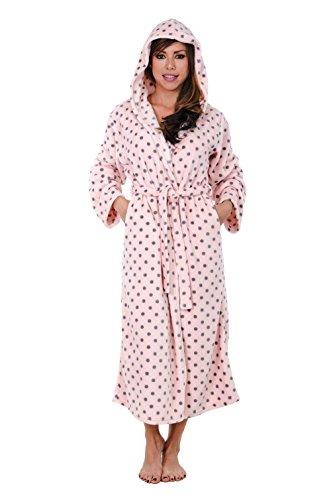 Hoodie Robe Hooded Robe Spa Bathrobe Hoody Robe Long Robe … (Large, Pink Polka Dot) by Love This Robe (Image #2)'