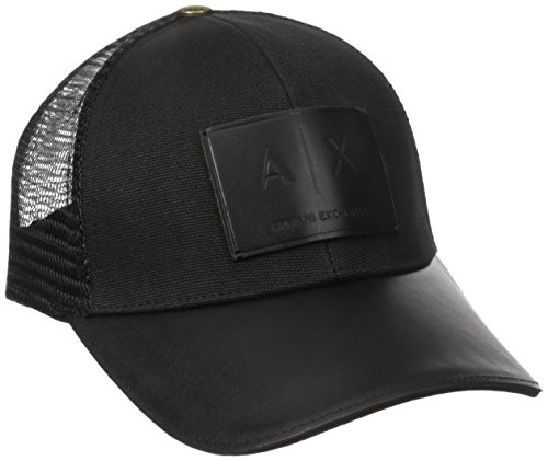 Armani Exchange Men's Logo Patch Mesh Hat, Black, One - Armani Exchange Logo