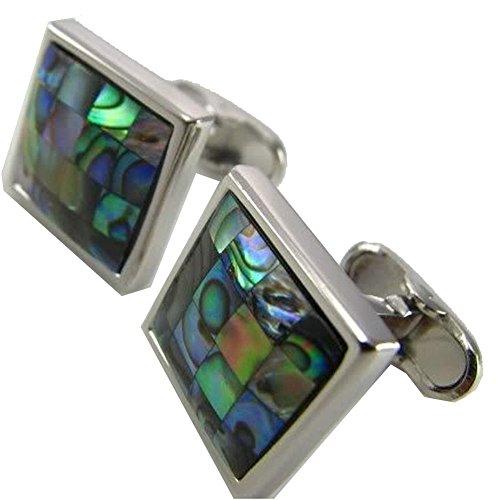 Mens Executive Cufflinks Designer Checker Board Electric Blue Green Abalone Shell Cuff (Abalone Designer Cufflinks)