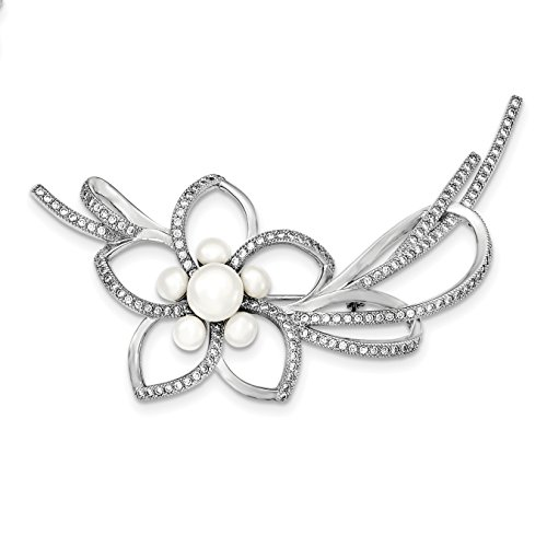 925 Sterling Silver Rhodium-plated White Cultured Pearl and Cubic Zirconia Flower Pin