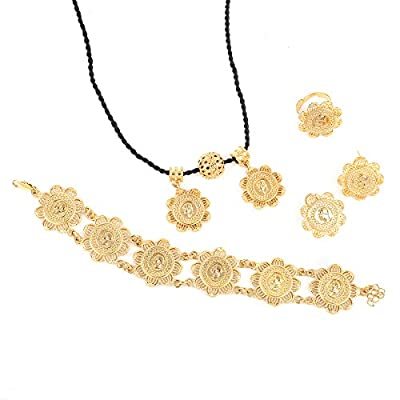 Wholesale Gold Silver Plated Classic Coin Pendant Ring Earring Bracelet Set African Habesha Jewelry for Women supplier