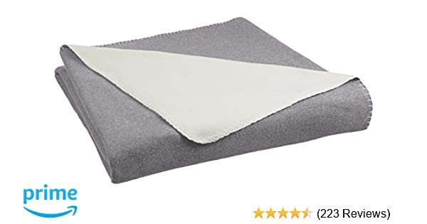 Amazonbasics Reversible Fleece Blanket Fullqueen Greycream