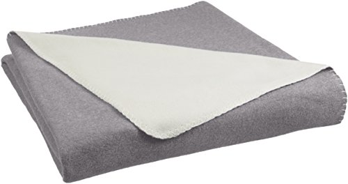 AmazonBasics Reversible Fleece Blanket - Throw, Grey/Cream