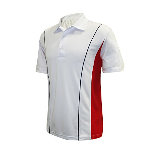 (Monterey Club Men's Dry Swing Colorblock Garnish Overlock Shirt #1192 (White/Red/Navy, 2X-Large))
