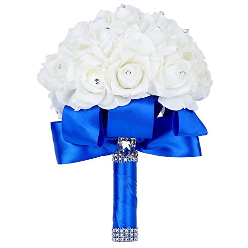 Faylapa Wedding Bridal Bouquet,Crystal Pearl Silk Roses Royal Blue Bridal Bridesmaid Hand Flowers Wedding,Engagement Valentines Day Decor