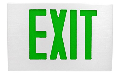 White Aluminum Exit Sign with Green Letters