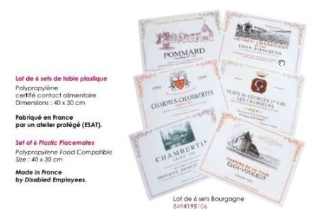 FRENCH VINTAGE LOT OF 6 PVC PLACEMATES BOURGOGNE WINES GRANDS CRUS