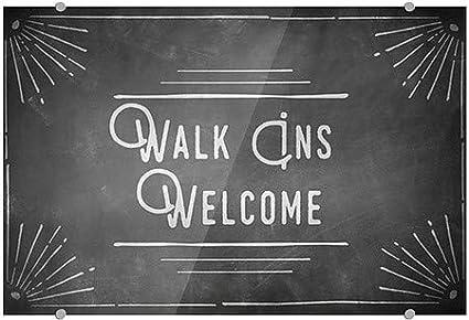 Walk Ins Welcome 5-Pack CGSignLab 18x12 Chalk Corner Premium Brushed Aluminum Sign