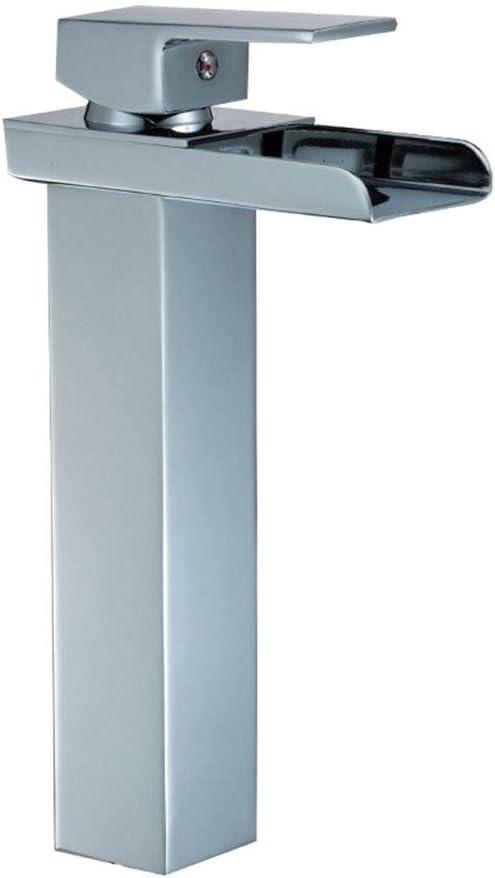 シンプルなクリエイティブハイアークシングルハンドル浴室の蛇口ワンホール滝浴室洗面化粧台シンクの蛇口 手蛇口のための洗面台の蛇口 (Color : Silver, Size : 26*13.7cm)