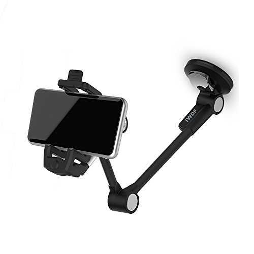 Alloy Car Phone Mount,Iwonderful Grip Flex Universal Windshield Car Phone Holder/Stand/Car Cradle with Extra Dashboard Base for Iphone 7/7 plus 6s/6s Plus HTC Sony LG Smartphone,GPS Devices,1001-Black